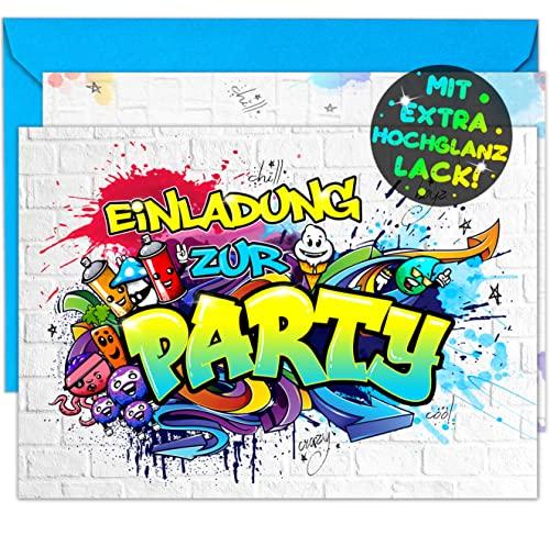 12x EINLADUNGSKARTEN + Umschläge für Party und Kindergeburtstag - die Karten im frech bunten Graffiti Design sind die perfekte EINLADUNG für Jungen Mädchen Kinder zum Geburtstag und KINDERPARTY