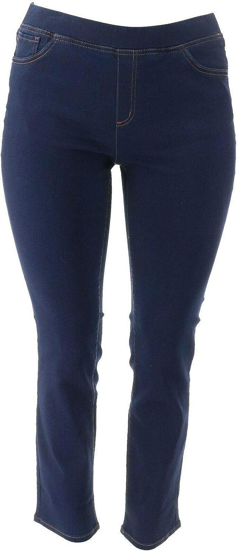 Denim & Co. Soft Stretch Pull-On Slim Leg Jeans Dark Wash 28W New A349209