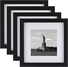 ONE WALL Tempered Glass 8x8 Picture Frame with Mats for 5x5, 4x4 Photo, Black Wood Frame for Wall and Tabletop (Mounting Hardware Included)