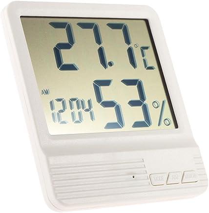 Anself White Digital Thermometer Hygrometer Clock Temperature Humidity Meter Calendar Maximum Minimum Value Display