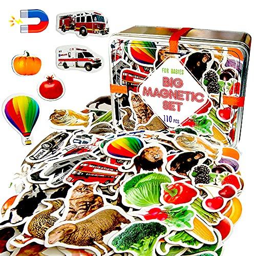 MAGDUM Imanes Nevera niños Animales+Frutas+Verduras+Transporte - 110 Grandes imanes Bebes - Montessori Bebe - Animales de Juguete - Juguetes Bebes - Juegos educativos niños - Regalo Bebe - Iman