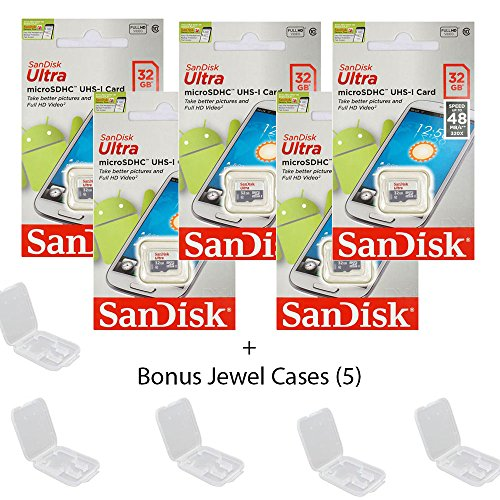 5 PACK - SanDisk Ultra 32GB UHS-I Class 10 MicroSDHC Memory Card Up to 48mb/s SDSQUNB-032G LOT OF 5 with Bonus Jewel Cases