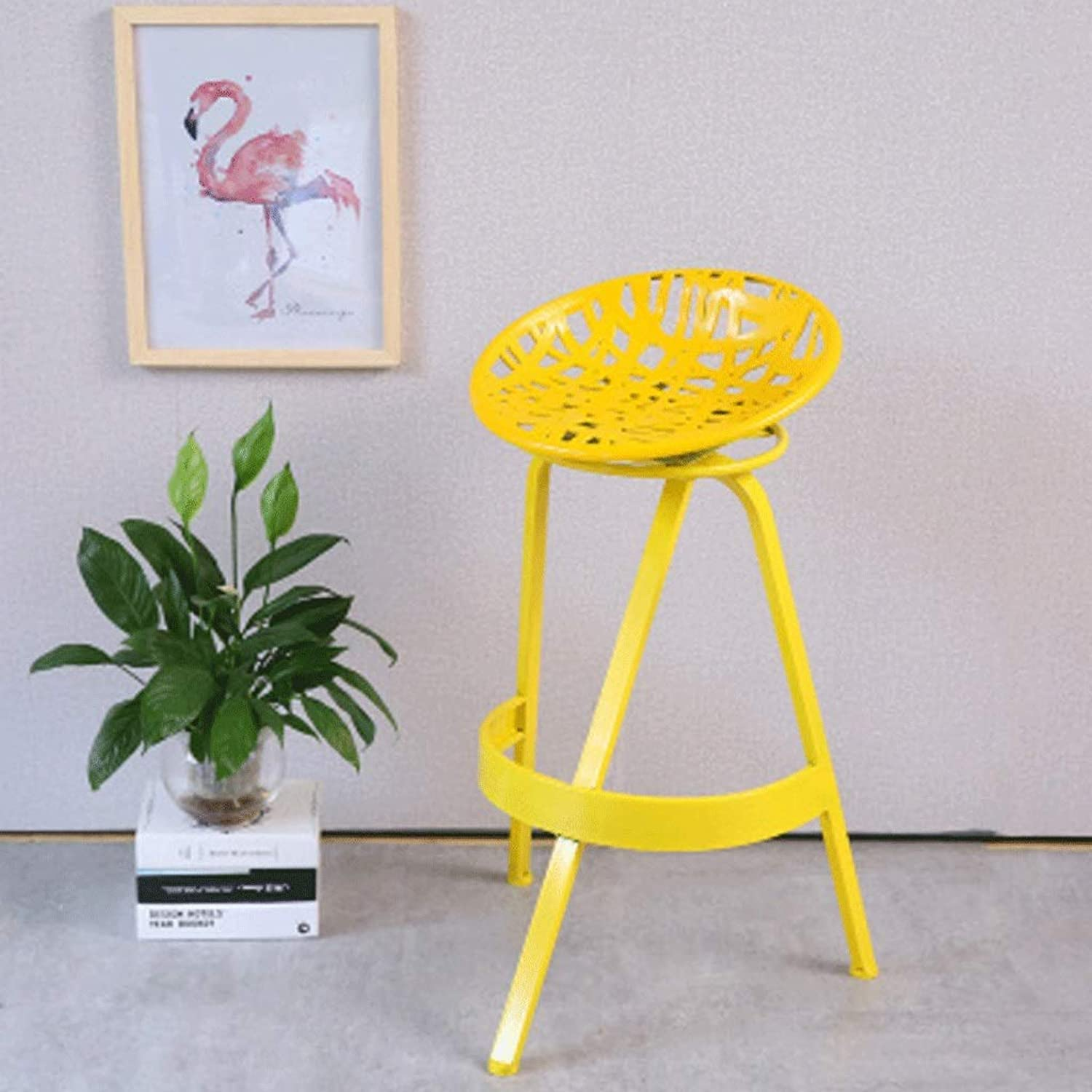 360 Degree in Situ redating Wrought Iron Bar Stool Bar Front Desk High Stool Back Home Bar Stool (color   Yellow)