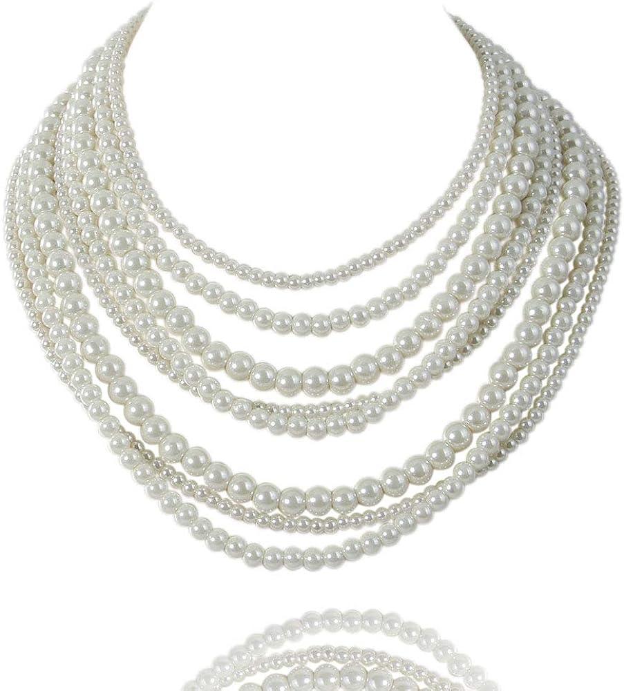 Kalse 8 Layers Strand Simulated Pearl Strand Bib Pendant Choker Chain Necklace