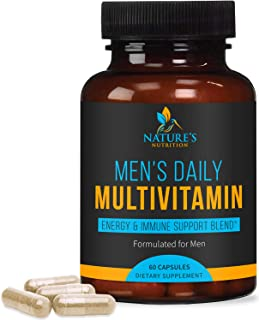 Multivitamin for Men, Extra Strength Daily Multi Vitamin with Vitamins A, C, D, E, B1, Plus Zinc - Made in ...