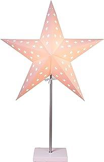 Lámpara de pie Papel Estrella Beige A Base De Madera Blanco 68x 43cm Cable 1,80m 230V E14