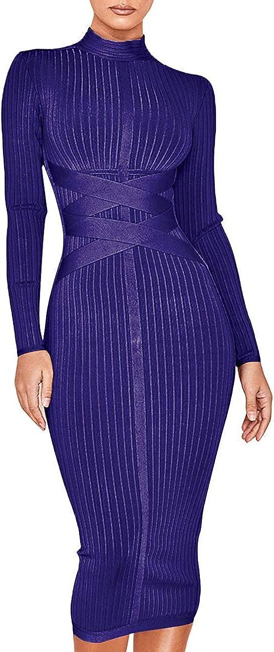 Women's Rayon Long Sleeves Bandage Dress Cross Strap Ribbed Club Party Midi Bodycon Dresses
