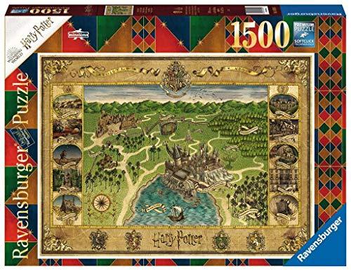 Ravensburger Puzzle 1500 pezzi, Harry Potter, Puzzles da Adulti, Book Edition, Mina Lima, Minalima, Mappa di Hogwarts, Dimensioni Puzzle: 80x60 cm