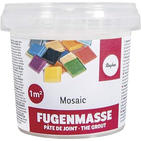 Rayher 1460100 Pâte à joint mosaique , blanc, 1 pot 500g, surface 3-5 m2, qualité fine 1A, ciment à reconstituer avec de l'eau, séchage à l'air, pour mosaique
