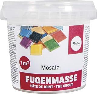 Rayher 1460100 Pâte à joint mosaique , blanc, 1 pot 500g, surface 3-5 m2, qualité fine 1A, ciment à reconstituer avec de ...