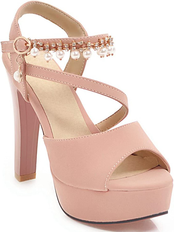KingRover Women's Trendy Rhinestone Peep Toe Pearl Ankle Strap Sandals High Heel Chunky Dress shoes