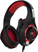 YUNQE Gaming Headset for Xbox One PS4 PC,GM-1 3.5 mm Gaming Headset LED Light Over-Ear Headphones with Volume Control Microphone for PC Xbox one Laptop Tablet Playstation 4 (Red)