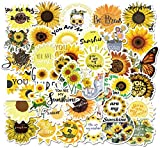 50pcs Sunflower Stickers, Waterproof Aesthetic Trendy Stickers Girls Teens, Perfect for Decal Snowboard Motorcycle Bicycle Phone Computer Car Window Bumper Wall Luggage