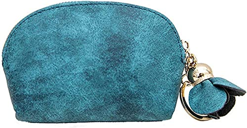 Coin Purse For Women LAPOPNUT Cute Small Change Purse Wallet Pouch With Ring Keychain 3D Flower Tassel Zipper PU Leather Pouches Clutch Bag For Girls Blue