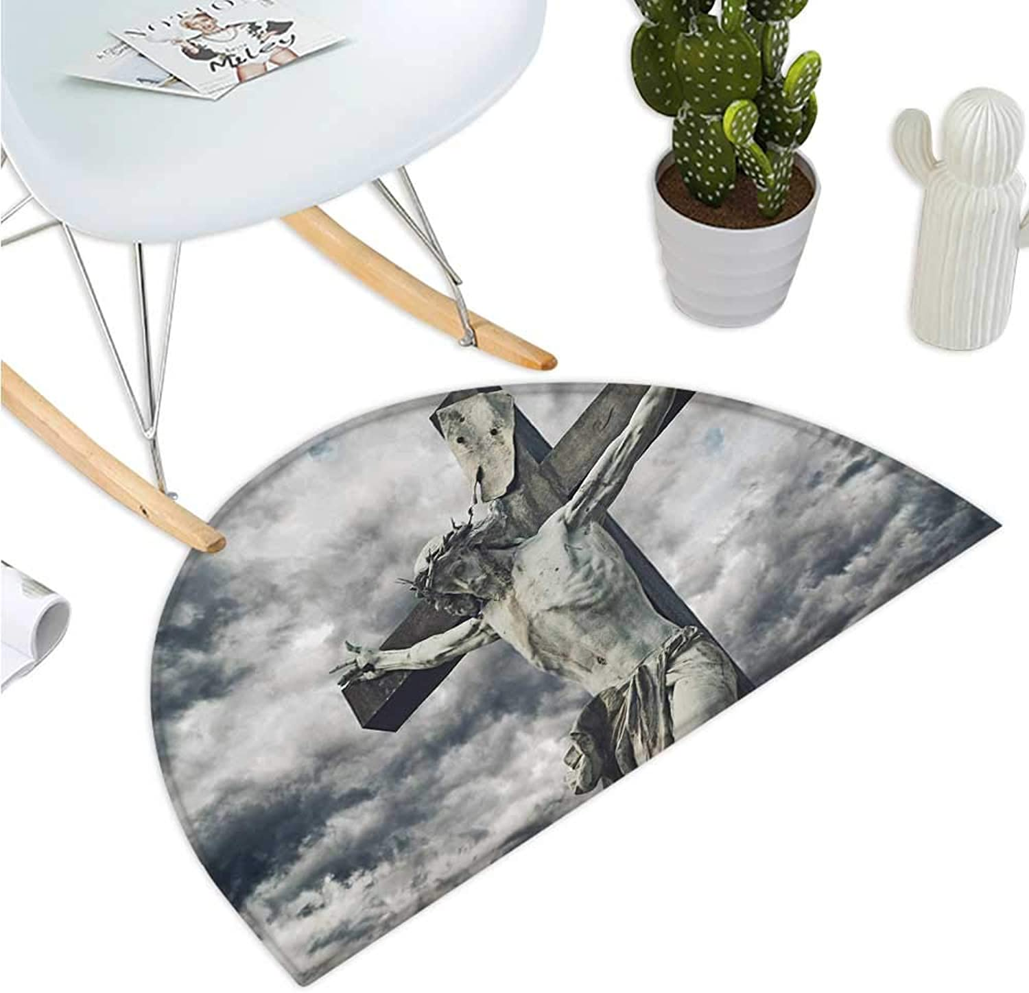 Religious Half Round Door mats Cross with Religious Character Statue Stormy Dramatic Cloudscape Scene Entry Door Mat H 35.4  xD 53.1  Tan Dark bluee White