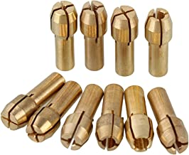 0.5-3.2mm Brass Collet Drill Chuck Fits Dremel Rotary Tools Electric Grinding Drill Collect Chuck Holder Pack of 10 (4.3mm Shank Dia)