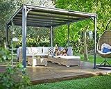 Palram Milano 4300 Tonnelle de Jardin Toit Plat – Structure Aluminium et Toit Rigide 4X3 – Pour Couvrir une Terrasse Toute L'année – Garantie 10 Ans