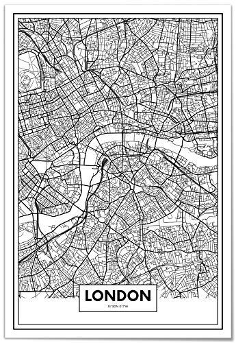 Panorama Póster Mapa de Londres 21x30cm - Impreso en Papel 250gr - Póster Pared - Cuadros Modernos Decoración Salón - Cuadros para Dormitorio - Póster Decorativos