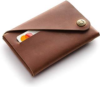 Minimalistischer Brieftasche/Kartenhalter aus Leder Classic Brown, Crazy Horse Leder Geldbörse/Kartenhalter, braune schlan...