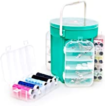Relaxdays 10014702 Couture avec 200 Accessoires + Boîte de Rangement, Plastique, Vert, 16x16x5 cm