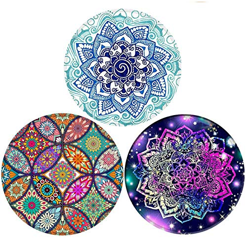 Mouse Pad, Round Mandala Mouse Mat, Non-Slip Rubber Base Mousepad with Stitched Edge, Waterproof Office Mouse Pad, Small Floral Mouse Mat (Mandala 3Pack)