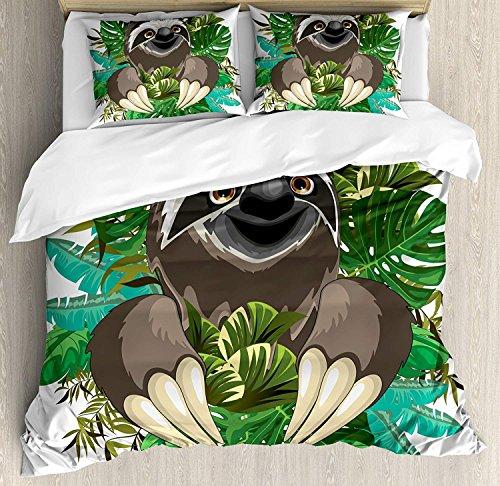 Juego de funda nórdica Sloth, Mamífero de dibujos animados en la jungla...