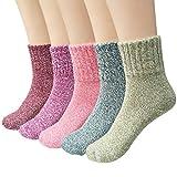 Ndier calcetines de lana de las mujeres coloridos calientes