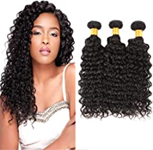 Huarisi Deep Wave Brazilian Hair 3 Bundles Deep Curly Hair 100% Unprocessed Human Hair Weave Pelo Humano sin Procesar Pack of 22 24 26 Inches