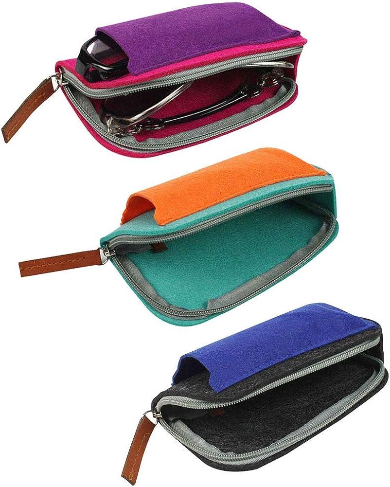 [5 PACK], JAVOedge Multi Colors Soft Felt Zipper Eyeglass Cases with Microfiber Cloth for Sunglasses & Reading Glasses