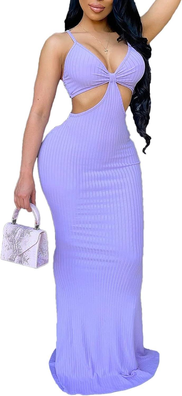 Ladies Sexy Cut Out Bodycon Maxi Dress Spaghetti Strap Backless Top Flared Skirt Breast Wrap Y2K Streetwear Clubwear