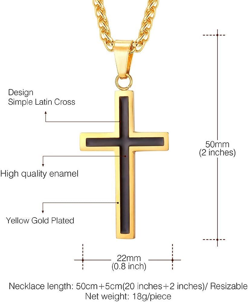 U7 Schwarz Emaille Lateinisches Kreuz Anh/änger Halskette Edelstahl Christentum Religi/öse Schmuck