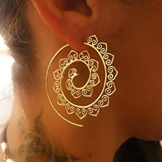 Jovono Bohemian Earrings Exaggerated Vortex Gear Earrings for Women and Girls (Gold)