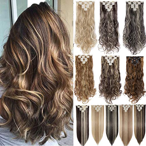 Clip in Hair Extensions 8 PCS 18 Clips 145G Thick Straight Curly Full Head Real Natural Synthetic Fibre Hairpiece 60 colors for Women Lady Girls(24 inch,natural black & bleach blonde-curly)
