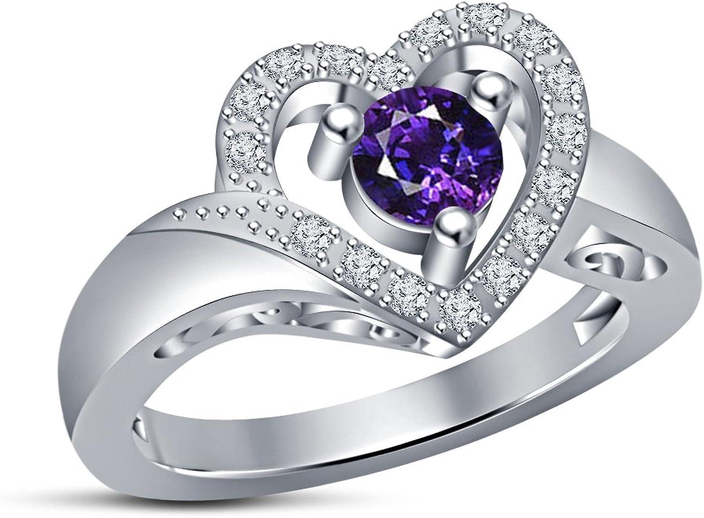 mejor servicio Vorra Fashion Fashion Fashion - Anillo de boda para mujer, plata de ley 925, Diseño de corazón  barato