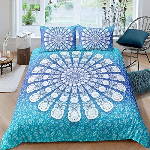 Raaooaceo 3D Comfortable Duvet Cover & Pillowcase Set Bedding Digital Print Quilt Case Twin Queen King Bedding Bedroom Daybed(Super King size 260 x 230 cm Bohemian Blue Mandala Floral) -Bedding boy