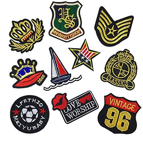 Parches para planchar con diseño de bandera militar y corona dorada para vaqueros, chaquetas, ropa, accesorios, insignias y pegatinas