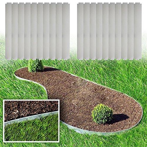 MCTECH® 20 x Rasenkante Metall verzinkt Beetumrandung Beeteinfassung Mähkante, 14cm hoch, 100cm lang (20m)