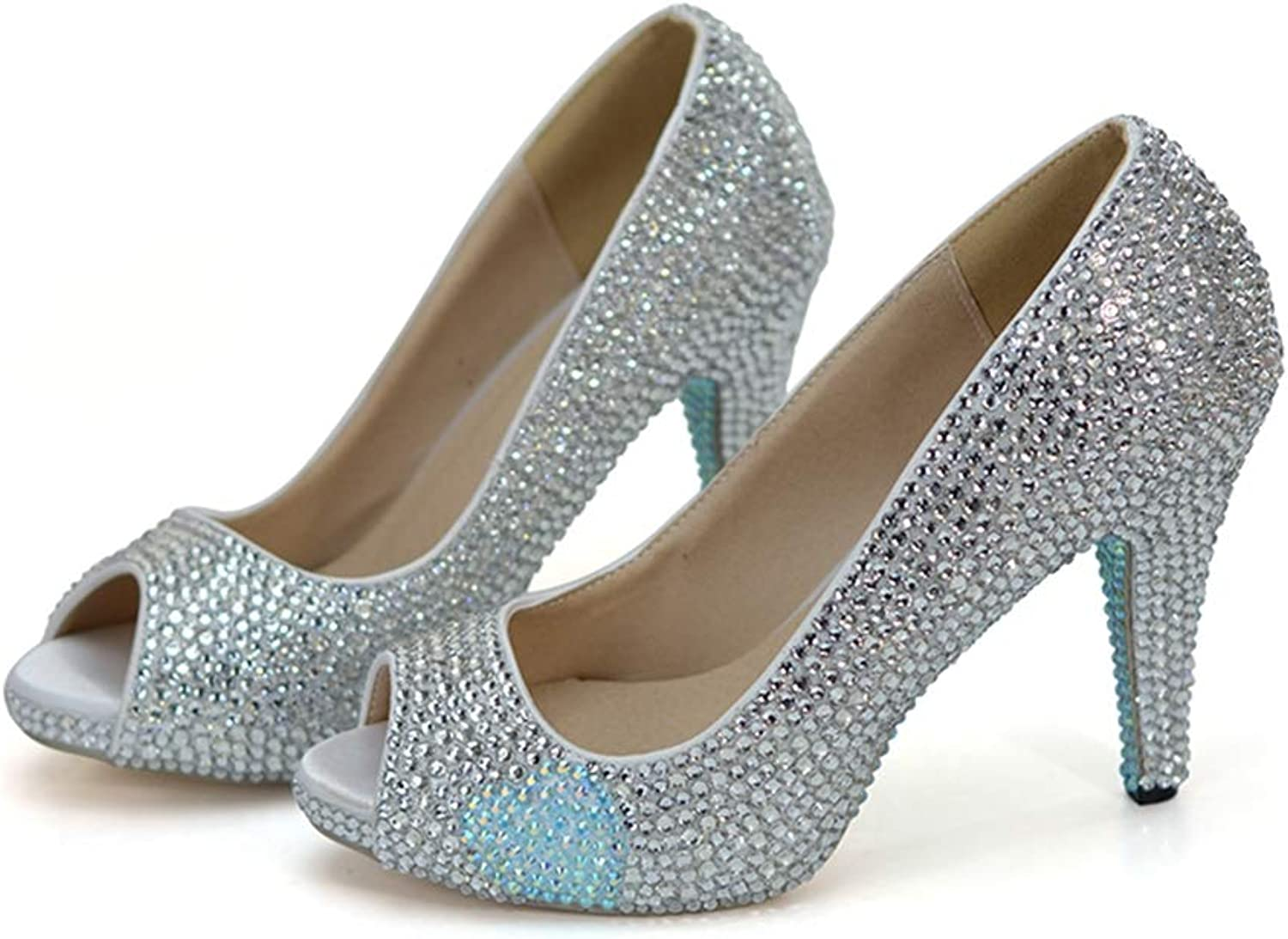 Sparrow Fairy Tale Evening Dress Heels Pumps Silver Rhienstone with Baby bluee Wedding shoes Peep Toe Bride shoes