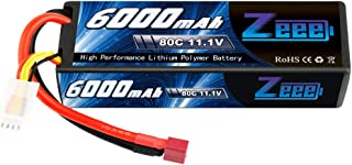 Zeee 11.1V 80C 6000mAh 3S Hardcase Lipo Battery Pack with Deans Connector Plug for RC 1/8 1/10 Scale Vehicles Car,Trucks,Boats
