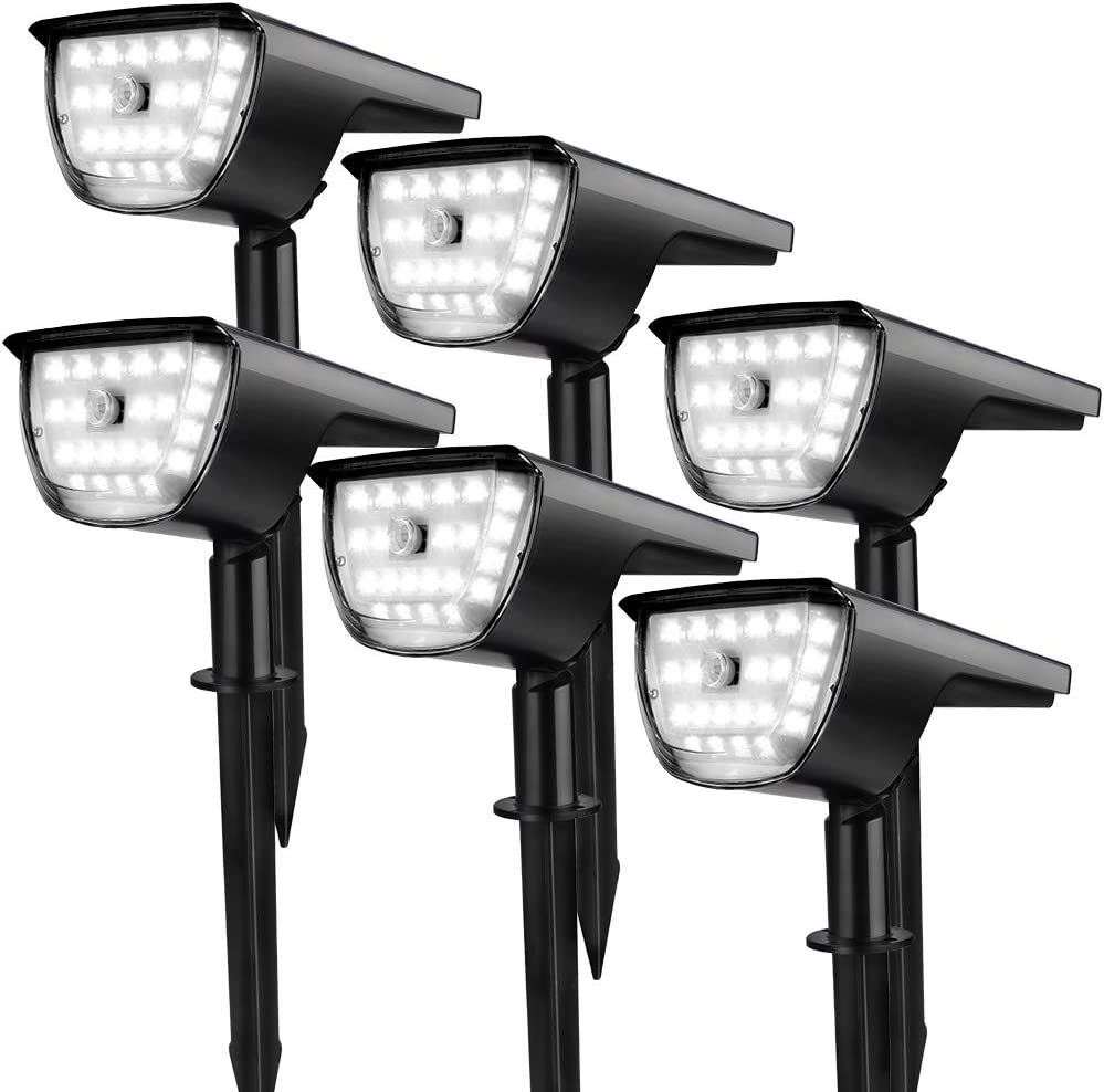 Cold White-4 Pack YZAA Solar Landscape Spot Lights Outdoor Motion Sensor Lights with 3 Working Modes Wireless Security Lights IP65 Waterproof Powered Wall Lights for Garden Patio