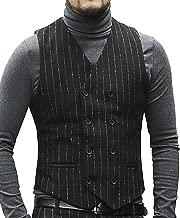 Men's Formal Pinstripe Suit Vest Tweed/Wool Slim Fit Groom Tuxedos Waistcoat for Wedding