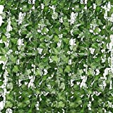 Artificial Plants Fake Ivy, 12 Strands Artificial Ivy Garland Fake Vines, UV Resistant Trellis with Artificial Leaves Hanging for Wedding Garden Party Home Wall Outdoor Indoor Decoration