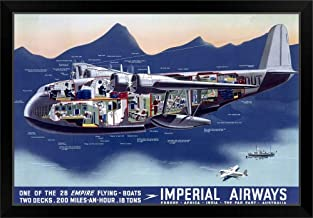 CANVAS ON DEMAND Imperial Airways, Flying Boat, Vintage Poster Black Framed Art Print, 33