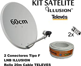 Kit Antena PARABOLICA 60cm Marca Tecatel + Rollo 20m TELEVES + LNB Illusion