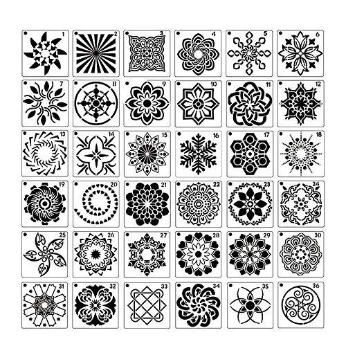 TOPSALE 36 Piezas Plantillas de Pintura Mandala Perfectas para Bricolaje Pintura Rupestre Arte Lienzo Madera Muebles Tarjetas Pintura