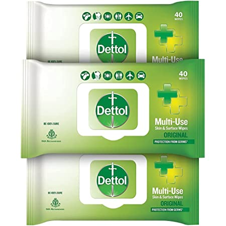 Dettol Disinfectant Sanitizer Wet Wipes for Skin & Surfaces , Original (Pack of 3, 40 Count each)   Moisture-Lock Lid   Safe on Skin   Ideal to Clean Surfaces