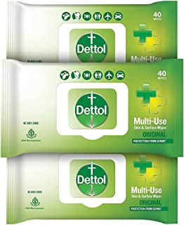 Dettol Disinfectant Sanitizer Wet Wipes for Skin & Surfaces , Original (Pack of 3, 40 Count each) | Moisture-Lock Lid | Sa...