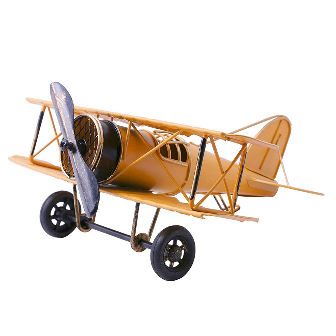 Vintage Airplane Model Metal Handicraft, Wrought Iron Aircraft Biplane, for Photo Props/Christmas/Home Decor/Ornament (Yellow)