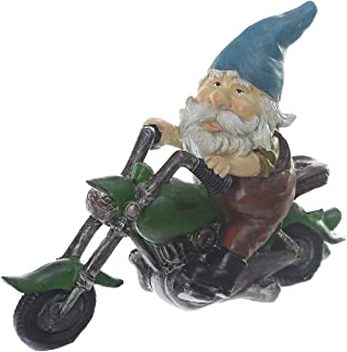 Blue Hat Gnome Statue Biker on Motorcycle Figurine Ornaments Resin Statue for Spring Summer Home and Garden Decoration Polystone Statue