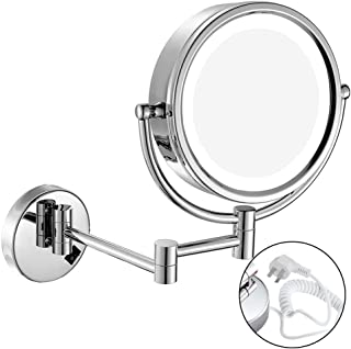 NYDZDM LED with Wall-Mounted Double-Sided Make-up Mirror Bathroom Folding Telescopic Beauty Mirror 3 Times Magnifying Glass HD 360 ° Rotating Makeup Mirror Fine Copper Material